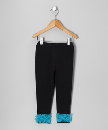 Black & Turquoise Chiffon Ruffle Leggings - Toddler & Girls