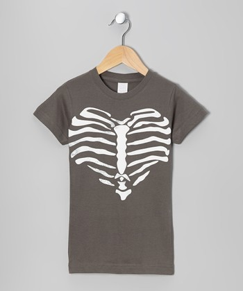Charcoal Rib Heart Tee - Girls