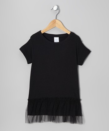 Black & Pink Wing Tulle Tunic - Toddler & Girls