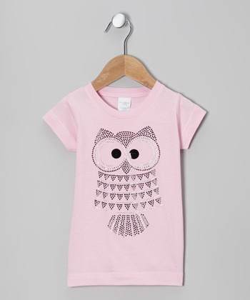 Light Pink Rhinestone Owl Tee - Toddler & Girls