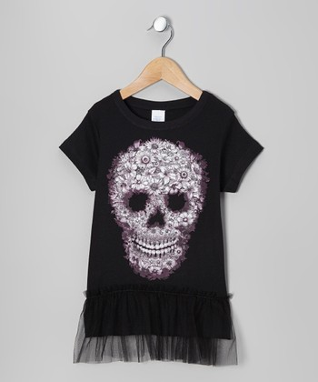 Black Floral Skull Tulle Tunic - Girls