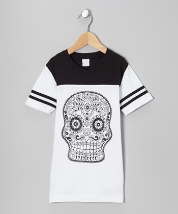 White & Black Sugar Skull Hockey Tee - Girls