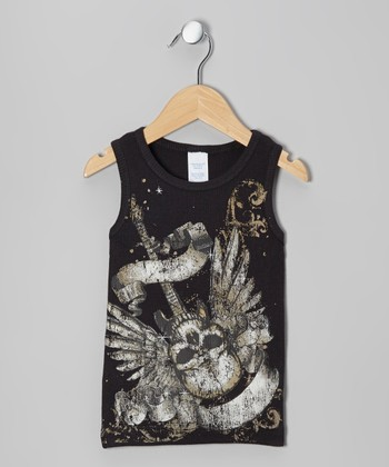 Black Winged Skull Tank - Toddler & Girls