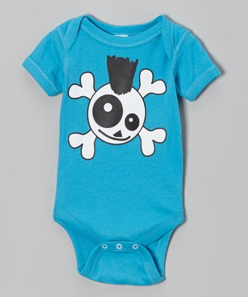Turquoise Skully Punk Bodysuit - Infant