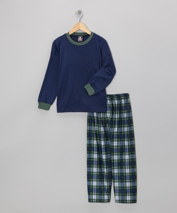 Navy Plaid Pajama Set - Boys