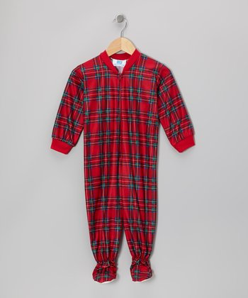 Red Holiday Plaid Footie - Infant