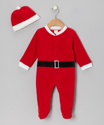Red Fleece Santa Suit Footie & Beanie - Infant