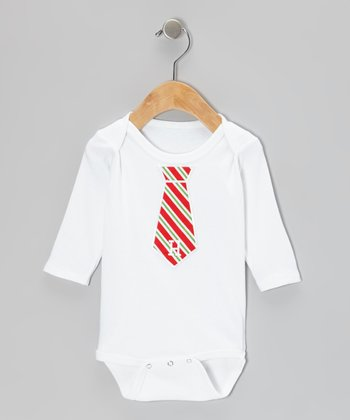 White & Red Initial Tie Bodysuit - Infant