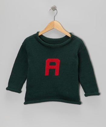 Hunter Green & Red Initial Sweater - Infant, Toddler & Kids
