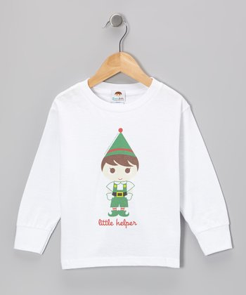 White 'Little Helper' Elf Tee - Toddler & Boys
