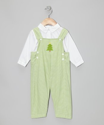 White Button-Up & Lime Christmas Tree Overalls - Infant