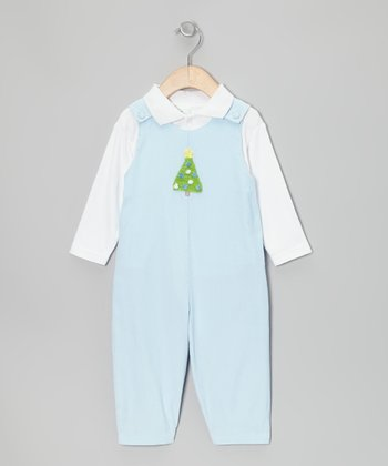 White Top & Blue Christmas Tree Overalls - Infant