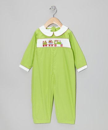 Lime Christmas Train Playsuit - Infant