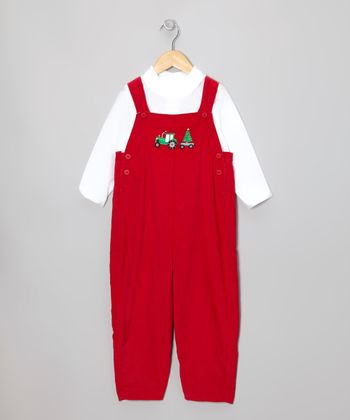 White Button-Up & Red Christmas Tree Corduroy Overalls - Toddler