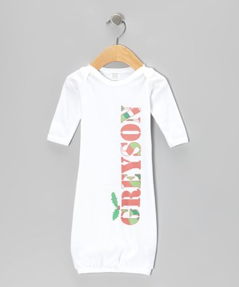 White Stripe Holly Personalized Gown - Infant