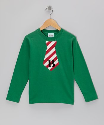 Green & Red Stripe Tie Initial Tee - Infant, Toddler & Boys