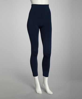 Navy Fleece-Lined Footless Tights Set - Women