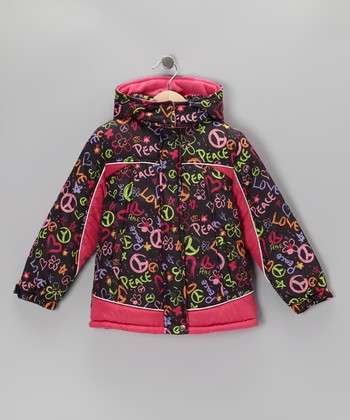 Rainbow Heart & Peace Puffer Coat - Toddler & Girls