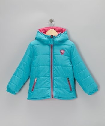 Turquoise & Pink Puffer Coat - Infant, Toddler & Girls
