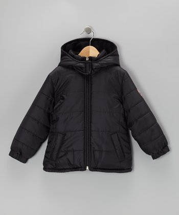 Black Logo Puffer Coat - Girls