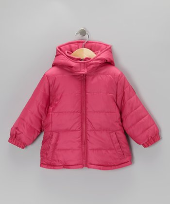 Fuchsia Logo Puffer Coat - Toddler & Girls