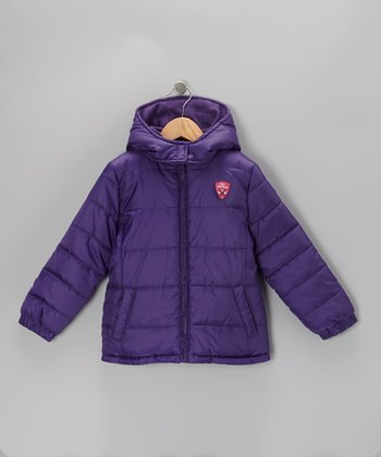 Purple Logo Puffer Coat - Infant, Toddler & Girls