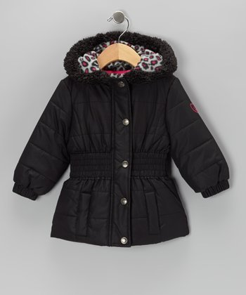Black Leopard Puffer Coat - Infant, Toddler & Girls