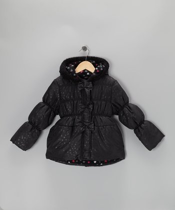 Black Bow Puffer Coat - Toddler & Girls