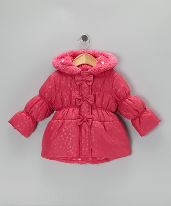Fuchsia Bow Puffer Coat - Toddler & Girls