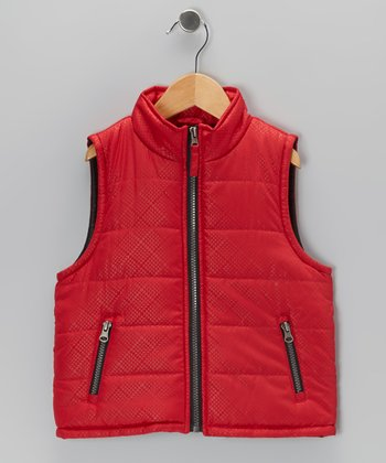 Red Zip-Up Puffer Vest - Toddler & Boys