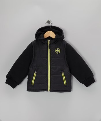 Black & Lime Layered Puffer Coat - Boys