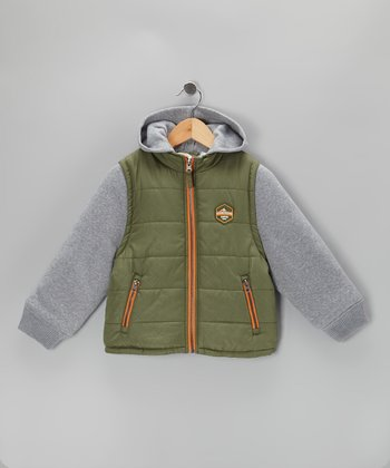 Olive & Gray Layered Puffer Coat - Toddler & Boys