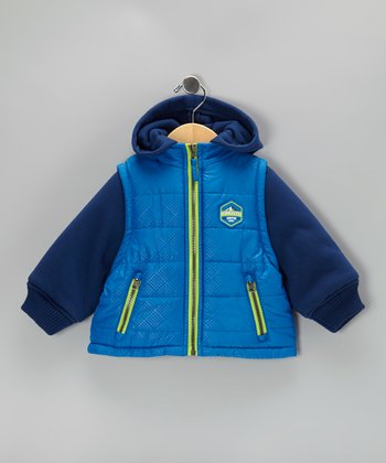 Royal & Navy Layered Puffer Coat - Toddler & Boys
