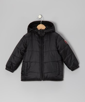 Black & Charcoal Hooded Puffer Coat - Boys