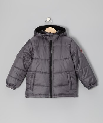 Charcoal & Black Puffer Coat - Boys