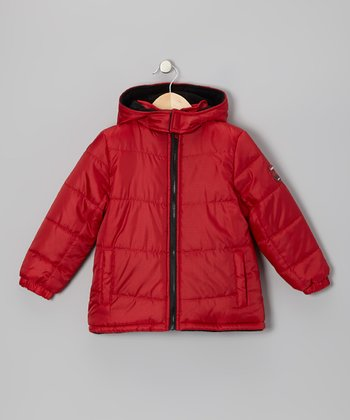 Red & Black Puffer Coat - Toddler & Boys