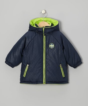 Navy & Lime Puffer Coat - Boys