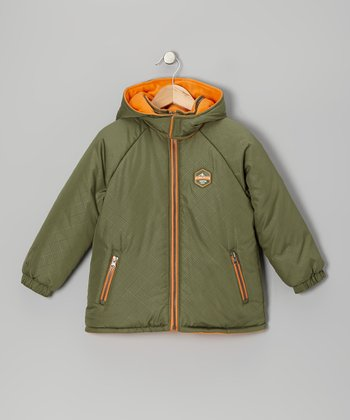 Olive & Orange Puffer Coat - Boys