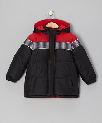 Black & Red Puffer Coat - Toddler
