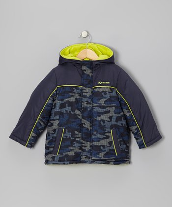 Navy & Yellow Camo Puffer Coat - Toddler