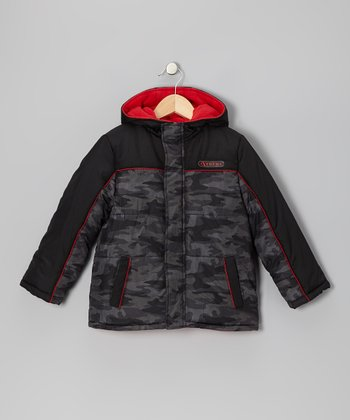Black & Red Camo Puffer Coat - Boys
