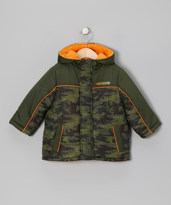 Olive & Orange Camo Puffer Coat - Boys