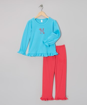 Aqua Ruffle Initial Tee & Pink Pants - Infant & Toddler