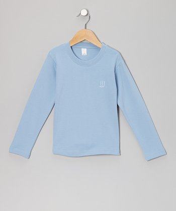 Light Blue Monogram Long-Sleeve Tee - Infant, Toddler & Kids