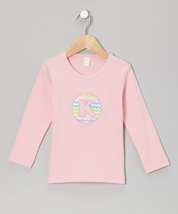 Pink Zigzag Initial Tee - Toddler & Girls