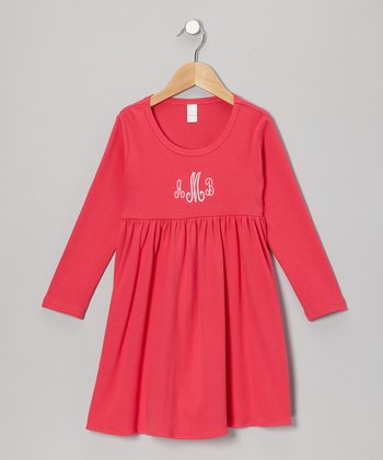 Fuchsia Monogram Babydoll Dress - Infant & Toddler