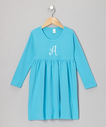 Aqua Initial Babydoll Dress - Infant, Toddler & Girls