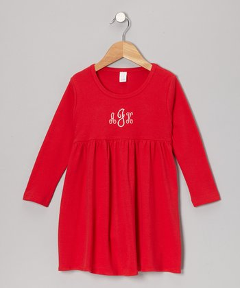Red Monogram Babydoll Dress - Infant, Toddler & Girls