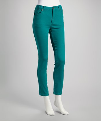Teal Cropped Skinny Jeans - Women