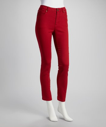 Pomegranate Cropped Skinny Jeans - Women